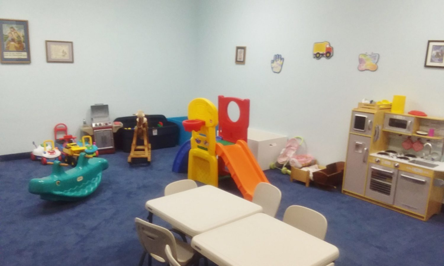 Preschool care provided here during worship.